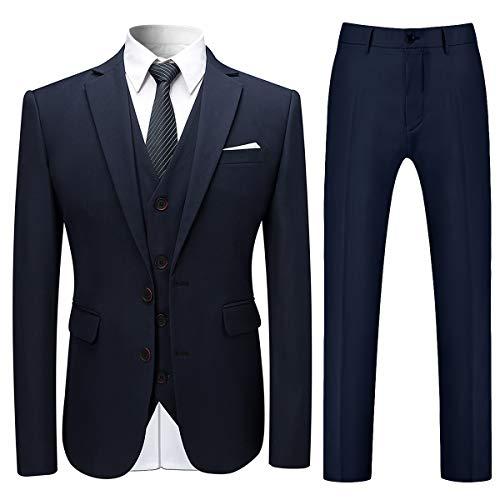 Allthemen Herren Slim Fit 3 Teilig Anzug Modern Sakko für Business Hochzeit Party Hochzeit Marineblau Large