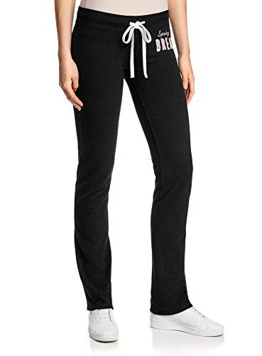 oodji Ultra Mujer Pantalones de Punto con Cordones, Negro, ES 40 / M