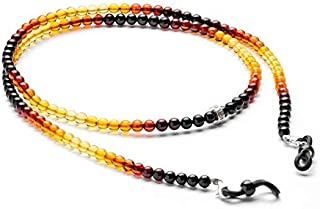 Zoya Gems & Jewellery Glasses Chain from 3-4MM Natural Amber - Beaded Lanyard for face mask - Amber Necklace - Beaded Cord...
