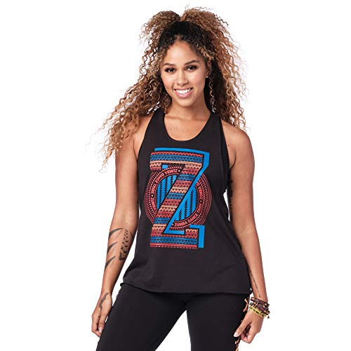 Zumba Fitness Workout Cross Sexy Tank For Women Graphic Print Open Back Tops, Mujer, True Bold Black, S