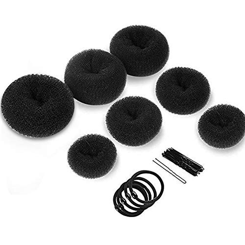 Donut Hair Bun Maker, 7 Stück Hair Donut Bun Maker Ring Style Haar Design Tools für Frauen Mädchen Chignon Frisuren für Tänzer Ballett mit 5 elastischen Haargummis, 10 Stück...