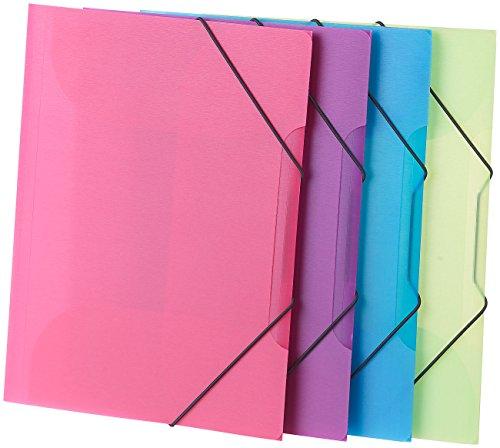 General Office Mappen: 4er-Set Eckspanner-Einschlagmappen mit Gummizug, Kunststoff, 4 Farben (Zeichenmappe)