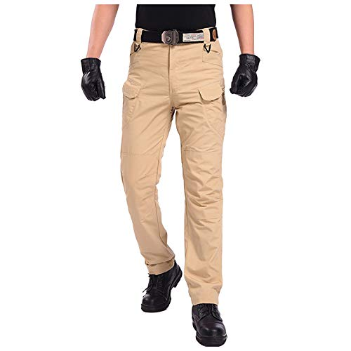 OutTop Men's Tactical Pants with Cargo Pockets Water Repellent Ripstop Cargo Pants Outdoor Insulated Hiking Work Pants (Khaki, XL)