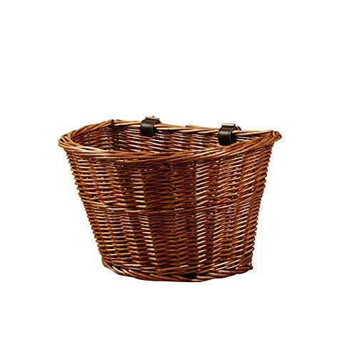 Keptfeet, Cestino Anteriore per Bicicletta, in Vimini, Stile Vintage, con Cinghie in Pelle, Unisex, Brown Without Handle