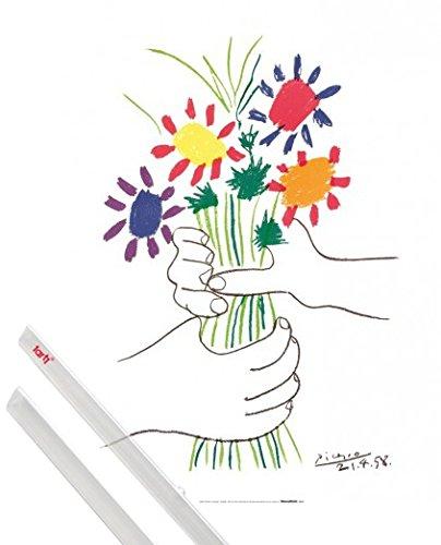 1art1 Pablo Picasso Kunstdruck (80x60 cm) Hände Mit Bouquet, 1958 Inklusive EIN Paar Posterleisten, Transparent