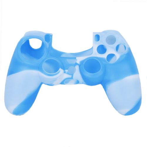 Microware Silicone Protective Skin Case Cover for Sony PlayStation 4 PS4 Controller --Blue with White