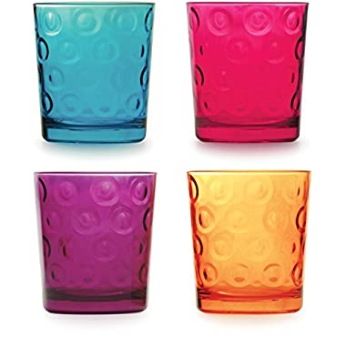 Circleware 44296 Circles Double Old Fashioned Whiskey Juice Beverage Drinking Glasses, Set of 4 13 Ounce, Multicolor, Glassware for Water, Beer, Wine, Liquor, Iced Tea Punch