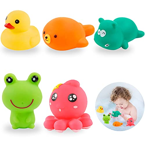 5Pcs Baby Bath Toys - Miotlsy Bath Animals Toys Set, Baby Soft Bath Time Toys Octopus, Hippopotamus, Seal, Frog, Duck for Kid Bath Toys Bathroom Toys for Toddlers