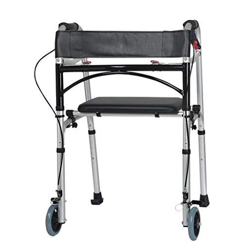 SONGYU Soporte con Ruedas Delanteras Plegable Ajustable para Andador, portátil, liviano, Compacto con Asiento de Piel sintética Ayuda de Movilidad para Personas Mayores para discapacitados