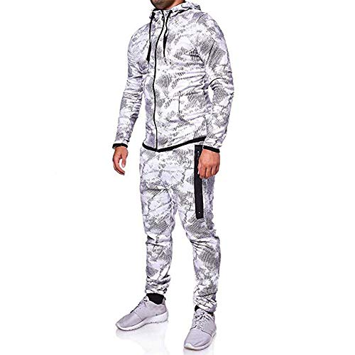 Aiserkly Herren Trainingsanzug Jogginganzug Sportanzug Streetwear Jogger Hausanzug Herbst Drucken Sporthose+Hoodie Warm Tracksuit Grau 3XL