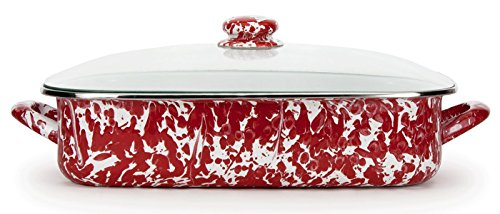 Enamelware, 16 x 12½ x 4 inch deep Lasagna Pan, holds 10½ quarts, with glass lid, Red Swirl