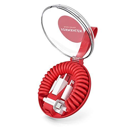 VONMÄHLEN allroundo All-in-One Ladekabel mit 5 Anschlüssen & Spiralkabel in Rot - Micro-USB, USB-C - 6in1 Universal Kabel für Handy & Mobile Endgeräte - Kompatibel mit iPhone, Samsung, Huawei etc.