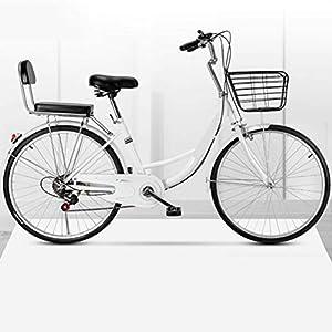 MC.PIG Lady Classic Bike con cesta – Bicicleta de paseo para mujer de velocidad variable, bicicleta para adultos 22/24/26 pulgadas para estudiantes macho y hembra (color: blanco, tamaño: 22 pulgadas)