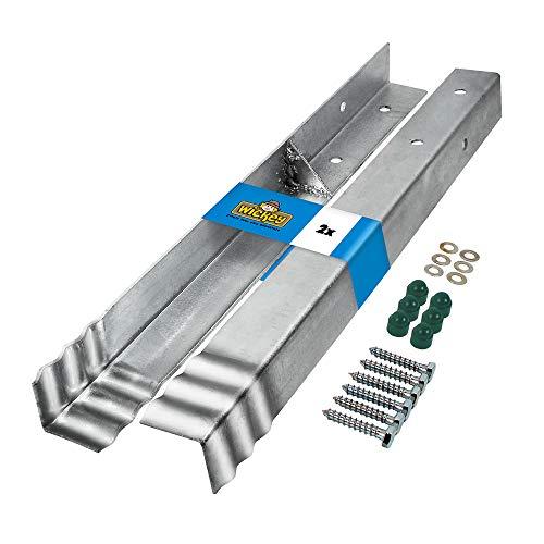 WICKEY Winkelanker PRO GIANT 80x80mm Pfostenanker für den öffentlichen Bereich Spielturm Schaukel, 2er-Set