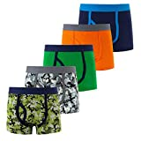 AIWUHE Boys Boxer Briefs Shorts, Cotton Dinosaur Prints Baby Toddler Panties Underwear for Kids Boy 2-9Y 5 Pack