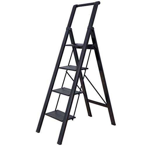 BAOYOUNI Escalera Aluminio 4 Peldaños Plegable Multifunción Escalerilla Doméstica con Empuñadura Práctica...