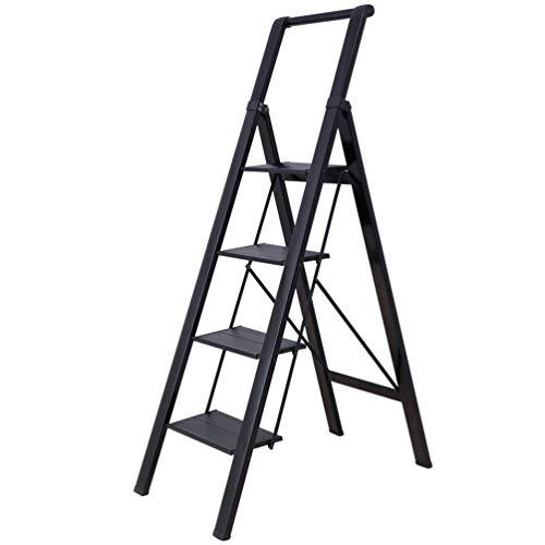 BAOYOUNI - Scaletta a 4 gradini in alluminio, leggera, pieghevole, resistente, con manico di sicurezza e pedale largo antiscivolo, per casa, ufficio, garage, pittura, colore: Nero