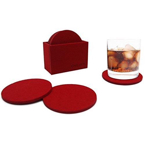 chillify - Set di 8 Sottobicchieri in Feltro con ripiano portaoggetti - Lavabile, Assorbente, Antiscivolo e Resistente al Calore - Protezione per Tavolo - Rotondo, 10x10cm, Rosso