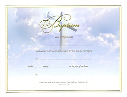 Certificate-Baptism (Cross Gold Foil Embossed) (Pk/6)