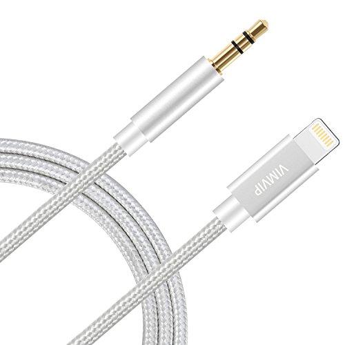 VIMVIP, cavo ausiliario audio per auto, 1m di lunghezza, in nylon intrecciato, da Lightning a cavo maschio audio da 3,5mm ausiliario, compatible con iOS 11,iPhone 8, 8Plus, stereo e autoradio