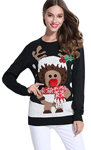 Cute Reindeer Knitted Ladies Sweater Pullover