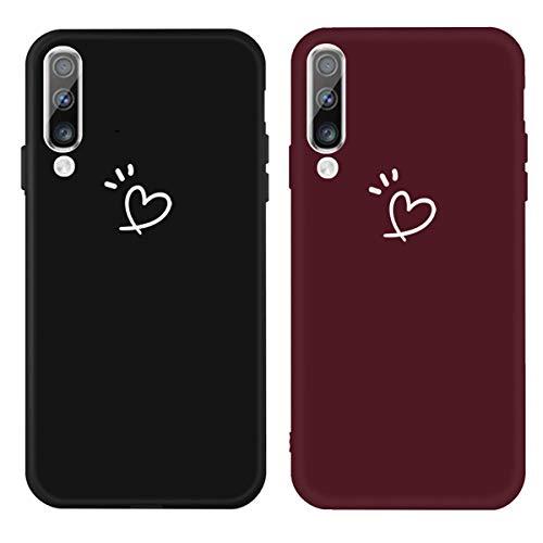 DiaryTown para Funda Samsung Galaxy A30S / A50, Cárcasa Silicona Color con Dibujos Diseño Suave TPU Gel Antigolpes de Parachoque Protector Case Cover para Movil Samsung A50, Negro/Rojo Vino