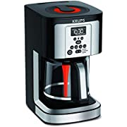 KRUPS EC324050 Savoy Programmable Coffee Maker 14 Cup, Black/Silver, 9.6 x 8.3 x 14.2""