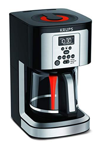 KRUPS EC324050 Savoy Programmable Coffee Maker 14 Cup, Black/Silver, 9.6 x 8.3 x 14.2'