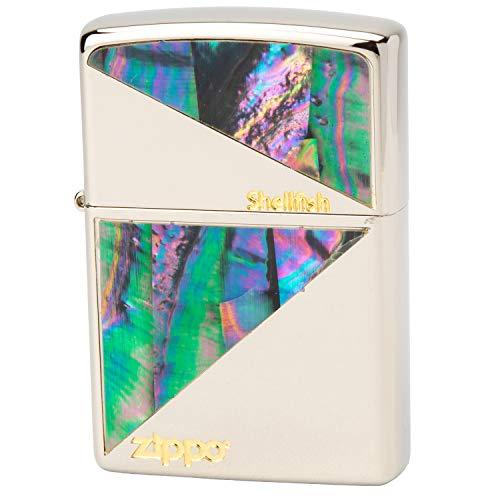 ZIPPO(ジッポー) ライター シルバー 両面加工 貝貼り ニッケル N-3 高さ5.5cm×幅3.8cm×奥行き1.3cm