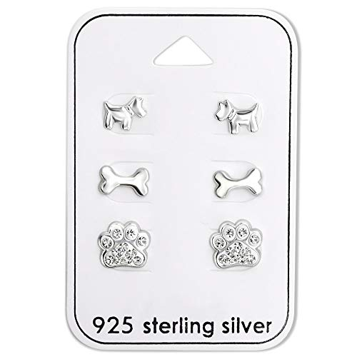 The Rose & Silver Company Women 925 Sterling Silver Crystal Dog Stud Earrings Set RS0944