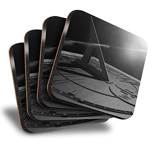 Destination Vinyl ltd Great Posavasos (juego de 4) cuadrados – BW – Antiguo reloj de sol tiempo bebida brillante posavasos/protección de mesa para cualquier tipo de mesa #43817