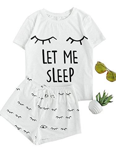 DIDK  Damen Cartoonmuster Top und Short Zweiteilig Sleepwear Pyjama Set, L, Muster-7