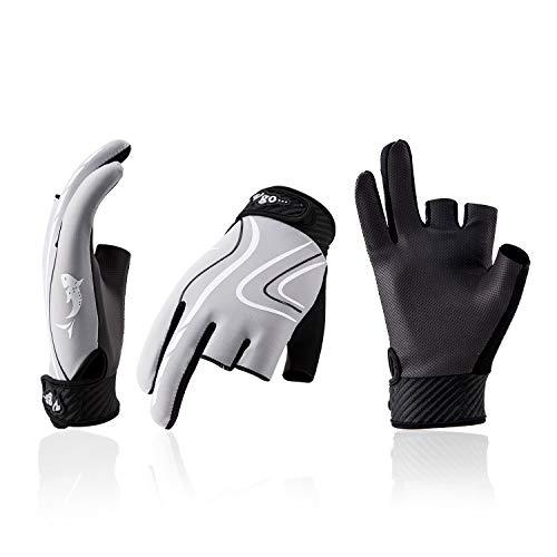 Vgo PU0055-handschoenen voor vissen, vingerloos, ademend, voor dames, 1 paar, kajak, zeilen, padddle, kano, boottochten en handschoenen voor buiten, grijs, grijs