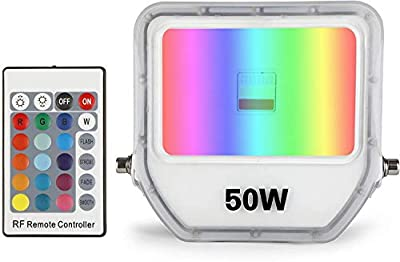 Samvol 50W RGB LED Flood Light, Color Changing Floodlight with Remote,Floodlight Indoor Outdoor with US 3-Plug, IP65 Waterproof Dimmable Spotlight for Garden Landscape Party Stage Lights