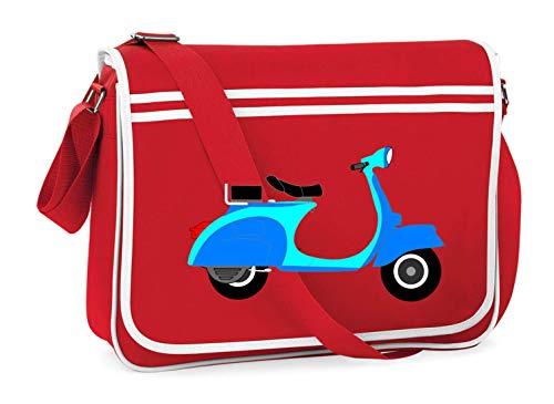Druckerlebnis24 Schultertasche - Motorroller Blau Zweirad Fahrzeug - Umhängetasche, geeignet für Schule Uni Laptop Arbeit