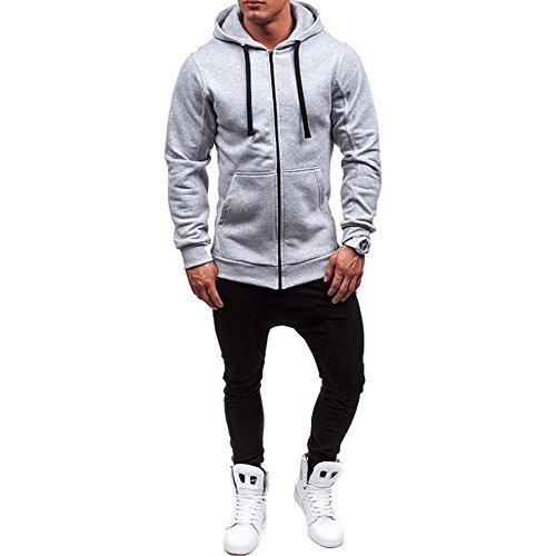 Men's Winter Lightweight Hoodie Warm Coat Jacket Full Zip Slim Casual Hooded Sweatshirt Outwear Sweater (Light Grey, M)