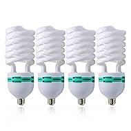 LimoStudio [4pack] 45 Watt, 6500K Fluorescent CFL Daylight Balanced Light Bulb for Photography Photo Video Studio Lighting, AGG874