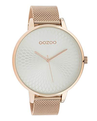 Oozoo dameshorloge met roestvrijstalen Milanese band en mandala wijzerplaat Rose/Zilver kleuren 48 MM C10552