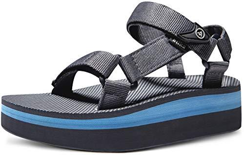 ATIKA CLSL Women's Islander Flatform Sandals, Outdoor Strap Walking Summer Sandals, Water Beach Sandals with Arch Support, Raised Islander(w215) - Dark Grey & Sky, 8