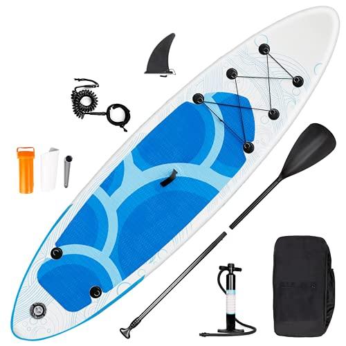 SMOOL Tavola Gonfiabile da Surf da 6 Pollici, Set Completo per SUP Board ad Alta Pressione, pagaia, Zaino, Kit di Riparazione da 145 kg