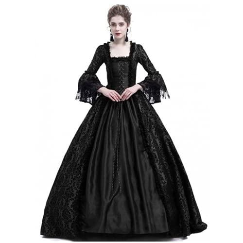 TMOYJPX Vestido Medieval Mujer Gotico Palacio Halloween Disfraz Bruja mujer Gracioso Tallas Grandes, Disfraces Medievales Vestidos de Fiesta Elegantes (Negro, M)