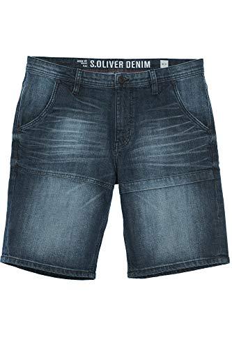 s.Oliver Plek Kurze Hose Jeans Shorts Cargohose Denim Herren Stretch Loose Fit, Farbe:blau, Hosengrößen:W32