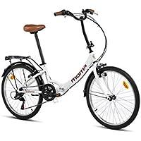 """Moma Bikes Bicicleta Plegable Urbana SHIMANO TOP CLASS 24"""" Alu, 6V. Sillin Confort,Blanco"""
