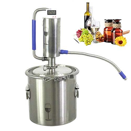 DLILI Destilador de Alcohol de Agua de Acero Inoxidable, la Caldera de Vino con termómetro se Utiliza para Hacer el rocío Puro de pétalos, aceites Esenciales, Vino de Frutas, Agua destilada, 20L