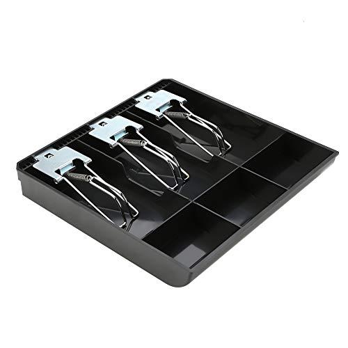Cajón de caja registradora cómodo clasificado, bandeja de inserción de caja registradora de reemplazo de tres cajas duradera, para tienda hotel(black)