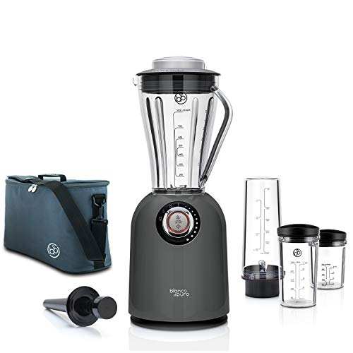 Bianco di puro Hochleistungsmixer Attivo inkl. Zusatzbehälter und Travelbag Hochleistungsmotor bis 24.500 U/Min Smoothie Maker 3 Mixprogramme 1 Liter Mixbehälter BPA-frei