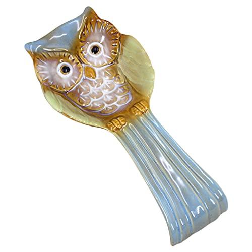 B Blesiya Poggia cucchiaio Ceramica Realizzazione Porcellana a forma di animale Accessori di design a forma di gufo Raccoglitore di gocce Custode per piano - blue
