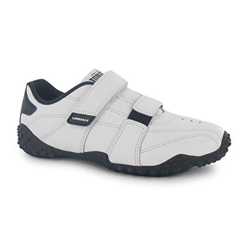 Lonsdale Kinder Baby Fulham Turnschuhe Sport Durable Sohle Grip Leder Schuhe Weiß/Marineblau C3 (19)