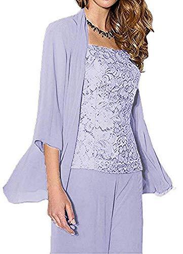 Women's 3 Pieces Chiffon Mother of The Bride Dress Pants Suits Wedding Outfit Lace Evening Dress Lavender US16