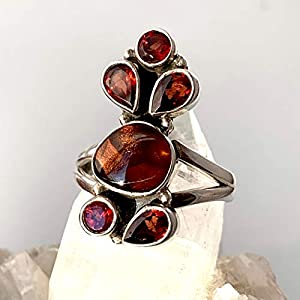 Genuine Mexican Fire Agate Garnet, 925 Sterling Silver Ring